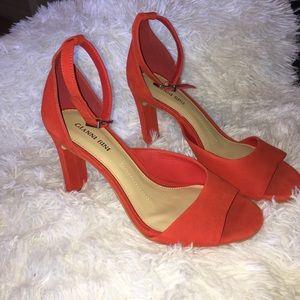 Gianni Bini Orange Suede Leather Peep Toe Heel